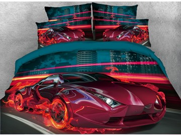 Onlwe 3D City Red Sports Car with Fire Printed 5-Piece Comforter Sets