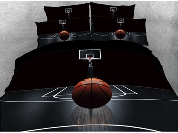 Onlwe 3D Basketball on the Court Printed 5-Piece Comforter Sets