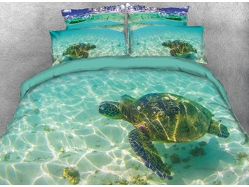 Vivilinen 3D Turtle in the Blue Limpid Ocean Printed 5-Piece Comforter Sets