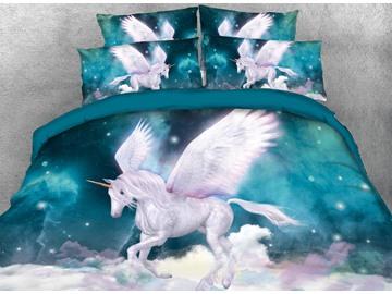 Vivilinen 3D Unicorn and Galaxy Printed 5-Piece Comforter Sets