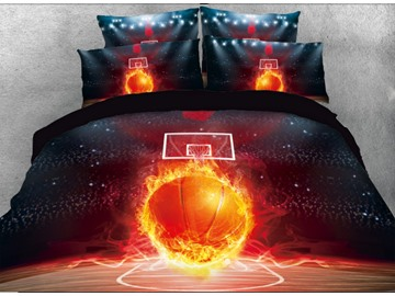 Vivilinen 3D Basketball with Fire on the Court Printed 5-piece Comforter Sets