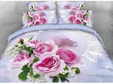 Vivilinen 3D Blush Pink Rose Printed 5-Piece Comforter Sets