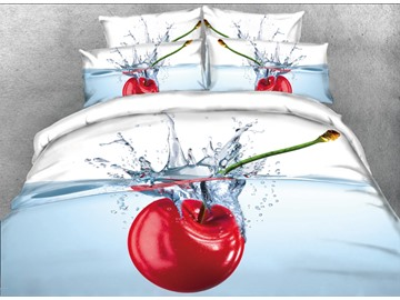 Vivilinen 3D Cherry in the Water Printed 5-Piece Comforter Sets