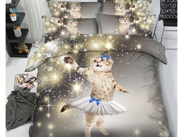3D Beautiful Sparkle Cat with Short Skirt Printed 5-Piece Comforter Sets