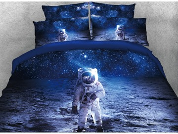 Onlwe 3D Astronaut Walking in Space Printed 5-Piece Comforter Sets