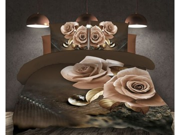 3D Rose Reactive Printing 4-Piece Polyester Duvet /Cover Sets