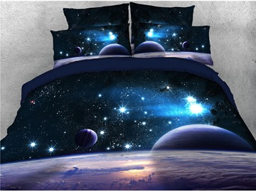 3D Planet Outer Space Printing Luxury 4-Piece Cotton Bedding Sets/ Duvet Cover Sets