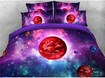3D Red Planets Dreamy Purple Galaxy Printing 4-Piece Bedding Sets/Duvet Covers