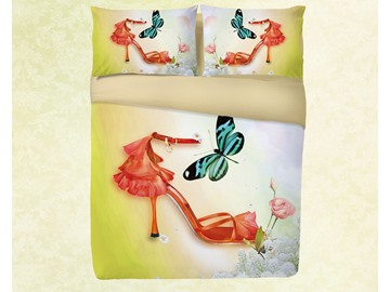 Vivilinen 3D High Heels and Butterfly Simple Printing 4-Piece Bedding Sets/Duvet Covers