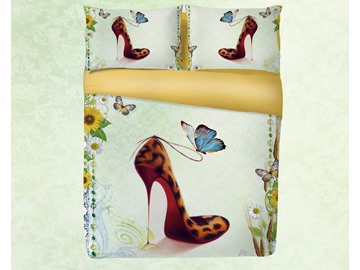 Leopard Print High Heels and Butterfly Printing 4-Piece 3D Bedding Sets/Duvet Covers