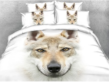 Onlwe 3D Wolf Head Digital Printing White 4-Piece Bedding Sets/Duvet Covers