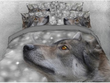 Wolf Head Digital Printing 4-Piece Grey 3D Bedding Sets/Duvet Covers
