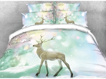 Vivilinen 3D Wapiti and Dreamy Snow Digital Printing 4-Piece Bedding Sets/Duvet Cover