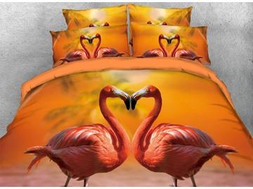 Vivilinen 3D Flamingo Lovers Heart-shaped Digital Printing Cotton 4-Piece Bedding Sets/Duvet Covers