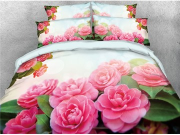 Onlwe 3D Blush Pink Peonies Blooming Digital Printed 4-Piece Bedding Sets/Duvet Covers
