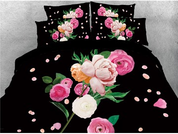 Vivilinen 3D Multi-colored Peony Digital Printing Black 4-Piece Bedding Sets/Duvet Covers