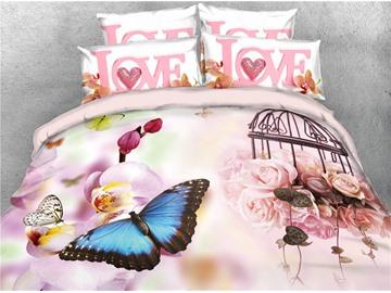 Vivilinen 3D Butterflies and Blush Pink Peonies Digital Printed 4-Piece Bedding Sets/Duvet Covers