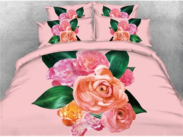 Vivilinen 3D Blush Pink Flower with Green Leaves Digital Printing 4-Piece Bedding Sets/Duvet Covers