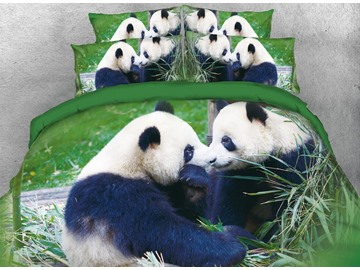 Vivilinen 3D Panda Couple Digital Printed Cotton Green 4-Piece Bedding Sets/Duvet Covers