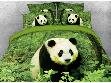 Vivilinen Panda Sitting in Green Leaves Digital Printed Cotton 3D 4-Piece Bedding Sets/Duvet Covers