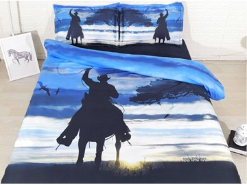 3D Cowboy Shadow Sunrise Digital Printed Cotton 4-Piece Bedding Sets/Duvet Covers