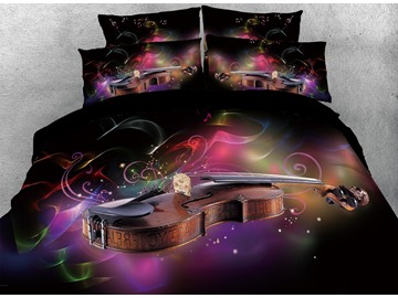 3D Violin and Colorful Musical Note Digital Printing Cotton 4-Piece Bedding Sets/Duvet Cover