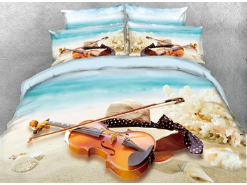 3D Violin and Shell Romantic Digital Printing Cotton 4-Piece Bedding Sets/Duvet Cover