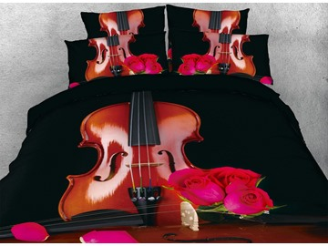 3D Violin and Red Rose Digital Printing Cotton Black 4-Piece Bedding Sets/Duvet Cover
