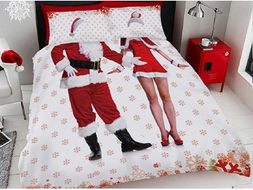 Unique Men and Women Santa Claus Costume Printing Cotton 3D 4-Piece Bedding Sets/Duvet Covers