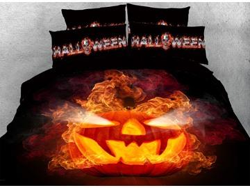 3D Halloween Jack-o'-lantern Digital Printing Cotton 4-Piece Bedding Sets/Duvet Covers