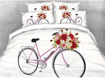 3D Flower and Bicycle White Digital Printed Cotton 4-Piece Bedding Sets