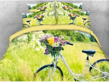 3D Bicycle and Flower Harmonious Atmosphere Yellow Digital Printed Cotton 4-Piece Bedding Sets