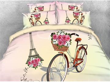 3D Bicycle and Eiffel Tower Digital Printed Cotton 4-Piece Bedding Sets