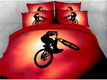 3D A Man Riding Bicycle Red Digital Printed Cotton 4-Piece Bedding Sets