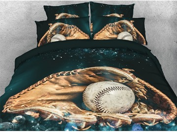 3D Baseball Catcher's Glove Digital Printed Cotton 4-Piece Bedding Sets/Duvet Covers