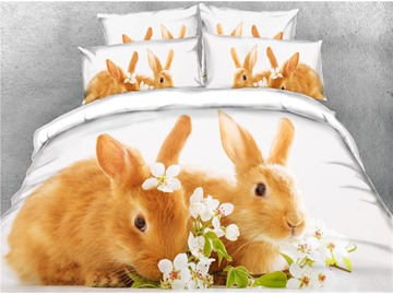 3D Brown Rabbits and Flower Digital Printed Cotton 4-Piece Bedding Sets/Duvet Covers