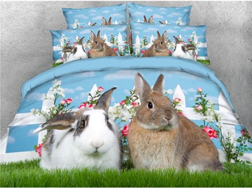3D Rabbits Couple Sitting on the Green Grass Digital Printed Cotton 4-Piece Bedding Sets/Duvet Covers