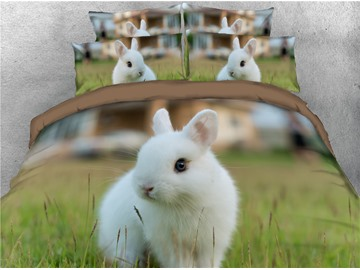 3D Innocent White Rabbit on Grass Digital Printed Cotton 4-Piece Bedding Sets/Duvet Covers
