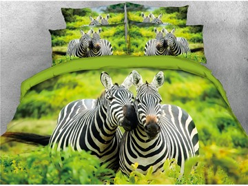 3D Zebras and Green Grass Digital Printed 4-Piece Bedding Sets/Duvet Covers