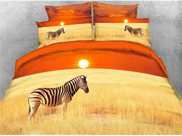 3D Zebra on the Sunset and Desolate Prairie Printed 4-Piece Bedding Sets/Duvet Covers