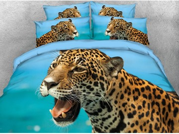 3D Wild Leopard Open the Mouth Digital Printed 4-Piece Bedding Sets/Duvet Covers
