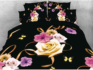 3D Golden Rose and Butterfly Digital Printing Cotton 4-Piece Bedding Sets/Duvet Covers