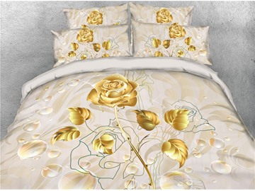 Golden Luxury Rose Digital Printing Cotton 4-Piece 3D Bedding Sets/Duvet Covers