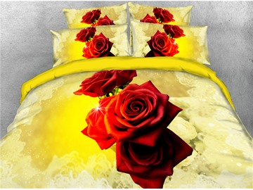 Vivilinen 3D Red Rose Luxury Golden Digital Printing Cotton 4-Piece Bedding Sets/Duvet Covers