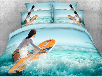 Surfboard and Water Green Digital Printed Cotton 3D 4-Piece Bedding Sets/Duvet Covers