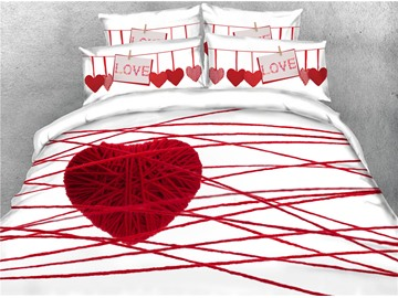 3D Love Heart and Red Thread Digital Printing Cotton 4-Piece Bedding Sets/Duvet Covers