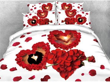 3D Heart-shape Rose Petals Valentine's Day Digital Printing Cotton 4-Piece Bedding Sets/Duvet Covers