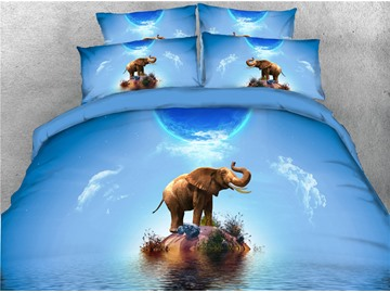 3D Elephant Stand on the Island Blue Digital Printed 4-Piece Black Bedding Sets/Duvet Covers