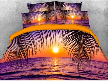 3D Sea and Sunset Peaceful Purple Digital Printed Cotton 4-Piece Bedding Sets/Duvet Covers