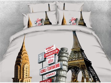 3D Eiffel Tower and Famous Building Digital Printed Cotton 4-Piece Bedding Sets/Duvet Covers